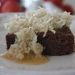 Easy Banana Brownies with Coconut Sauce