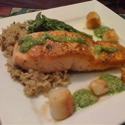 Pan Seared Salmon and Scallops with Macadamia-Cilantro Pesto Recipe