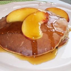 Cinnamon-Peach Cottage Cheese Pancakes Recipe