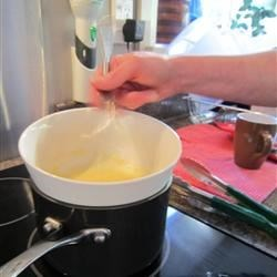 Whisking the Hollandaise on the double boiler