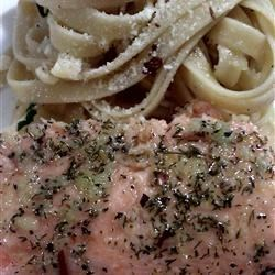 Salmon with simple pasta