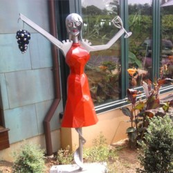 The corkscrew lady at a winery