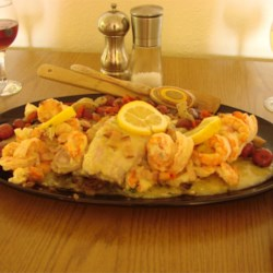 Baked Fish and Shrimp with Herbed Ruby Potatoes