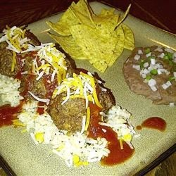 Enchilada Meatballs on Fiesta Rice