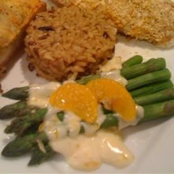 Asparagus with Orange-Cream Sauce and Cashews Recipe