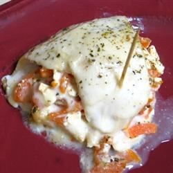 Chicken stuffed with feta and tomato