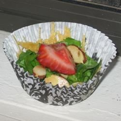 Crispy Parmesan Cheese & Rosemary Cups with Spinach & Strawberry Salad
