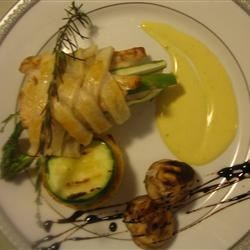 Asparagus &Chiken Tenderlions in pastry with Polenta, Veges, Saffron Beurre Blanc & Reduced Balsamic