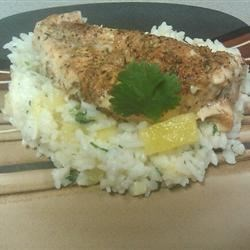 Caribbean Chicken with Pineapple-Cilantro Rice Recipe