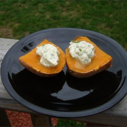 Sweet Potatoes with Poblano Butter Topping Recipe