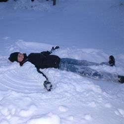 Me making a snow angel in the back yard