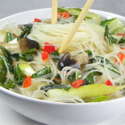 Rice Noodles with Shiitakes, Choy, and Chiles Recipe