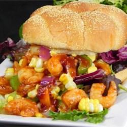 Grilled Shrimp Po' Boy Sandwich with Farmers Market Relish