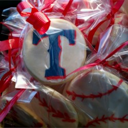 Texas Rangers decorated sugar cookiea