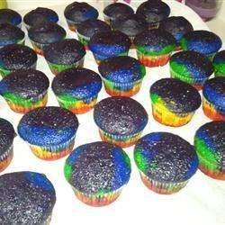 Baked rainbow cupcakes