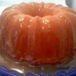 Pound cake with caramel icing