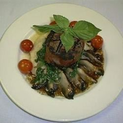 Filet Mignon with Garlic Mashed Potatoes Wilted Spinach and Grilled Portobella Mushrooms