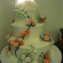 4 layer, 3 tier, raspberry filled, sugar flowers