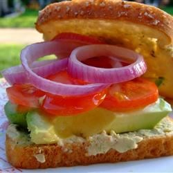 Veggie and Cilantro Hummus Sandwiches Recipe