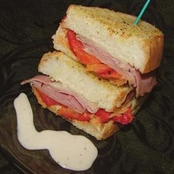 Grilled Roasted Red Pepper and Ham Sandwich