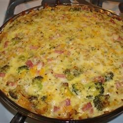 Photo of Ham and Broccoli Quiche with Hash Brown Crust by Kabeach