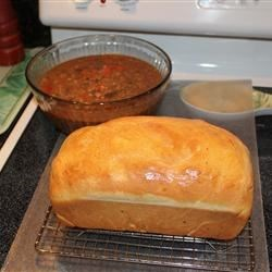 Yum homemade bread and soup