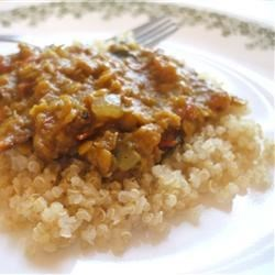 Coconut-Curry Lentil Stew Served over Quinoa Recipe