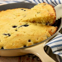 Blueberry Cornbread in a Skillet