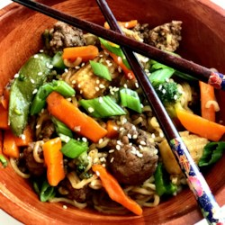asian ground beef noodle bowls printer friendly
