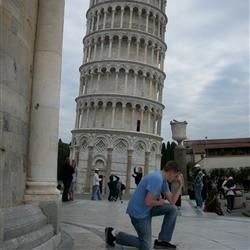 Tebowing in front of the leaning tower