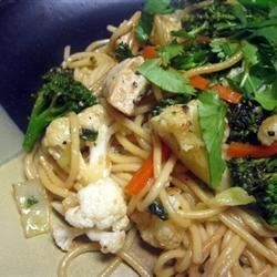 Linguine with Chicken and Sauteed Vegetables Recipe