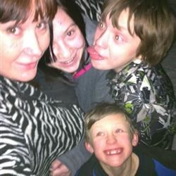 My crazy kids and I, playing outside, in the full moonlight and ABOVE ZERO temps...(Finally)