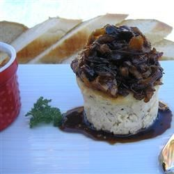 Savory Blue Cheese Cheesecake with Cherry Pear Compote and Cherry Balsamic Glaze Recipe