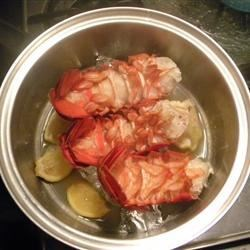 Lobster Tails Steamed in Beck's Beer with Lemon