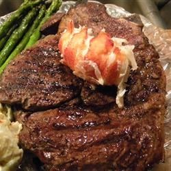 Grilled Rib Steaks with Beck's Beer Steamed Lobster Tails