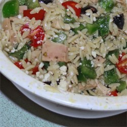 Mediterranean Chicken and Orzo Salad In Red Pepper Cups Recipe