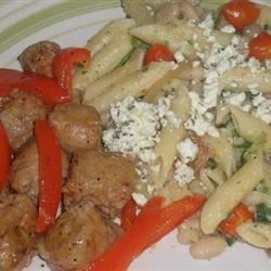 Penne with Spicy Chicken Sausage, Beans, and Greens Recipe