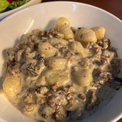 creamy sausage and mushroom gnocchi skillet printer friendly