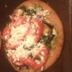 Spinach, Eggplant, Pesto Pizza