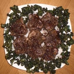 Lamb Chops with Balsamic Reduction over Rice surrounded by Kale Chips