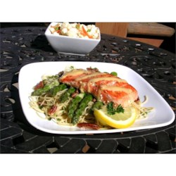 Salmon With  Dijon Butter Sauce, Asparagus and Herb Butter Angel Hair Pasta Recipe