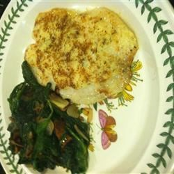 Broiled Tilapia Parmesan w/ sauteed spinach bacon and onions
