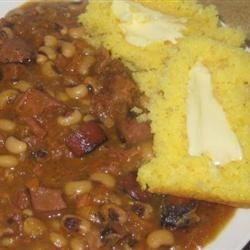 Smoked Calico Beans with corny corn bread, slathered in creamy butter. yummm