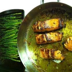 Bourbon-Glazed Salmon and Baked Asparagus