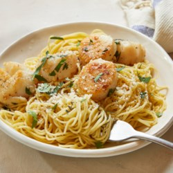 savory sea scallops and angel hair pasta recipe photos