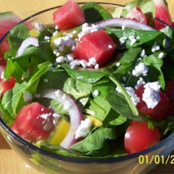 Watermelon and Feta Salad with Arugula and Spinach Recipe - Allrecipes ...