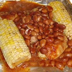 Foiled BBQ Chicken with Corn on the Cob and Pinto Beans Recipe