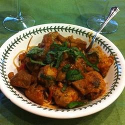 Little Lamb Meatballs in a Spicy Eggplant Tomato Sauce