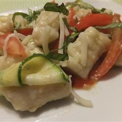 Gnocchi with zucchini ribbons and tomatoes
