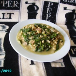 Navy Beans and Greens with Bacon and Garlic Recipe